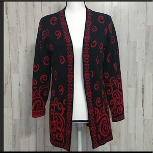 Christopher & Banks black and red cardigan